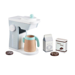 Kids Concept Coffee Maker Set with coffee jug, carton of milk, box of brown sugar and 2 coffee bean pieces