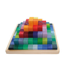 Grimm's Small Stepped Pyramid Wooden Building Blocks with tray