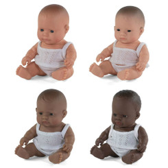 Miniland Baby Doll 21cm - Caucasian, African, Asian and Latin American (Hispanic)