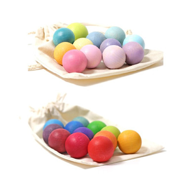 Grimm's Small Wooden Balls 12pcs - Rainbow and Pastel