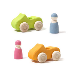 Grimm's Small Convertible Car - Green and Yellow with friends