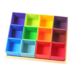 Grimm's Rainbow Sorting Helper Boxes 12 Pieces