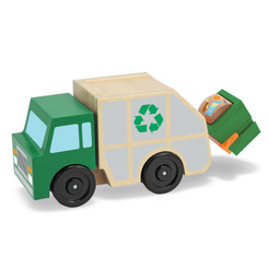 Melissa & Doug Wooden Garbage Truck with lift & bin