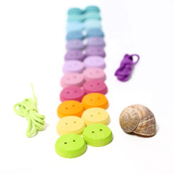 Grimm's Small Pastel Wooden Buttons Threading Game
