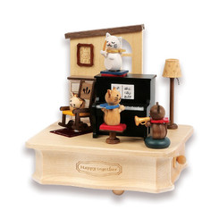 Wooderful Life Cat Play Piano Music Box