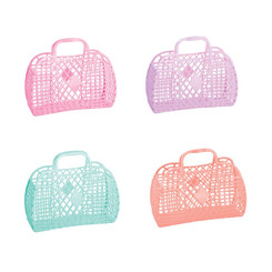 Sun Jellies Retro Basket Small in 4 colours (Bubblegum Pink, Lilac, Mint and Peach)