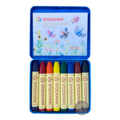 Stockmar Wax Crayons 8 Sticks in Tin with Black