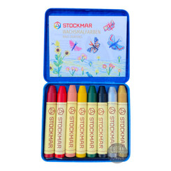 Stockmar Wax Crayons 8 Sticks in Tin Supplementary Set B with Gold & Silver