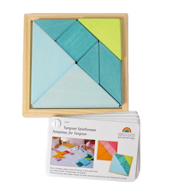Grimm's Turquoise Tangram with instruction booklet