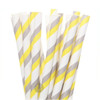 Make Nice Striped Paper Straws - Fifties Modern (Grey/Yellow/White)