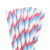 Make Nice Striped Paper Straws - Blue/Red/White