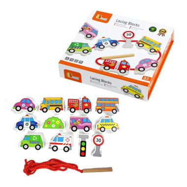 Fun Factory Wooden Lacing Blocks - Transportation with packaging