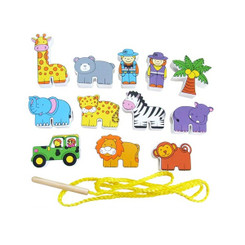 Fun Factory Wooden Lacing Blocks - Zoo