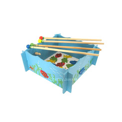 Fun Factory Wooden Magnetic Fishing Game with 4 Rods