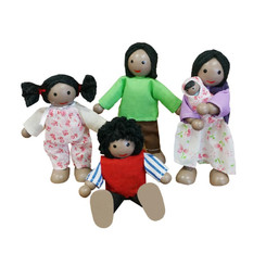 Fun Factory Wooden Doll House Family of 5 - Black