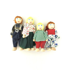 Fun Factory Wooden Doll House Family of 4 - White
