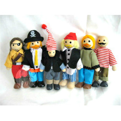 Wooden Doll House Pirate Family of 6