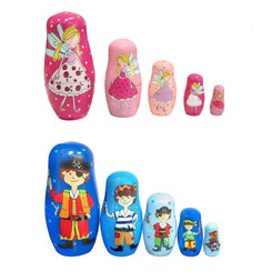 Fun Factory Wooden Fairy and Pirate Nesting Dolls