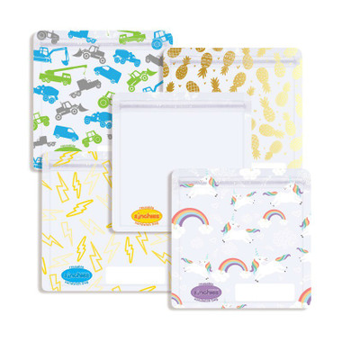 Sinchies reusable sandwich bags - clear, lightning, pineapples, trucks and unicorns