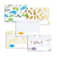 Sinchies Reusable Snack Bag (Clear, Lightning Bolts, Gold Pineapples, Trucks and Unicorns)