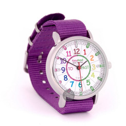 EasyRead Time Teacher Past & To Kids Watch - Purple Band/Rainbow Face