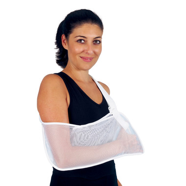 Product Code 908 – White Nylon Mesh Arm Sling - comfortable and breathable arm sling that fixes the arm into the desired resting position, provides support and allows arm re-positioning following an arm injury.  Fits the right or the left arm and available in two sizes.