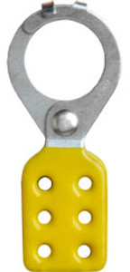 1.5 inch opening Hasp for Lockout - Tagout. Interlocking style, steel with Yellow rubberized coating