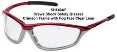 MCR Crews #SH140AF Shock Safety Eyewear Crimson Frame w/ Fog Free Clear Lens