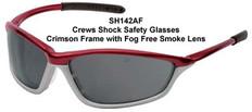 MCR Crews #SH142AF Shock Safety Eyewear Crimson Frame w/ Fog Free Smoke Lens