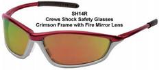 MCR Crews #SH14R Shock Safety Eyewear Crimson Frame w/ Red Fire Lens