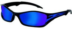 MCR Crews #TB148B Tribal Safety Eyewear Blue Tattoo Frame w/ Blue Mirror Lens