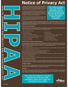 HIPAA Notice of Privacy Safety Poster (18 by 24 inch)