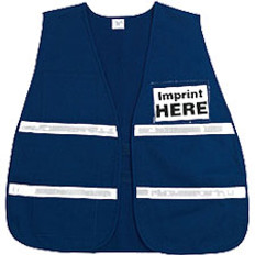 Incident Command Safety Vests, BLUE with Silver Stripes and Clear Pocket Front and Back