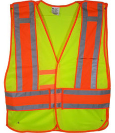 Lime Class II MESH First Responder Safety Vest Orange/Silver Stripes and 5 Point Tear-Away Size 4x