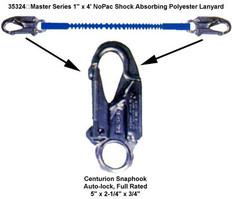 """Master Series 1"""" x 4' NoPac Shock Absorbing Polyester Lanyard"""