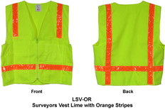 Surveyors Vest Lime w/ Orange Stripes