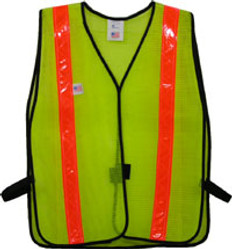 Safety Vests Lime Standard (1 3/8 inch Orange Stripes)