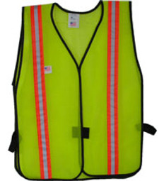 Safety Vests Lime Standard (1 3/8 Inch Orange/Silver Stripes)