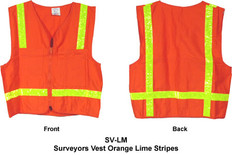 Surveyors Vest Orange Lime Stripes