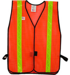 Safety Vests Orange Standard (1 3/8 inch Lime Stripes)