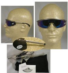 MCR Crews #T3118B Metal Triwear Safety Eyewear w/ Blue Mirror Lens