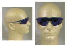 MCR Crews #TM128B Tremor Safety Eyewear Blue Frame w/ Blue Mirror Lens