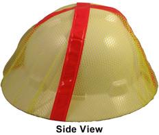 Occunomix V896-FBY Safety Helmet Mesh Hi Viz Full Brim Cover (Lime with Orange Stripes)