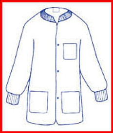Polypropylene Lab Jacket WHITE with 3 pockets, snap front, knit collar and cuffs (30 per pack)