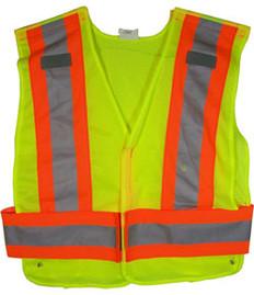 ANSI 207-2006 Public Service Safety Vests MESH Lime with Orange/Silver Stripes 5 point Velcro® Tear-Away Size 3x-4x