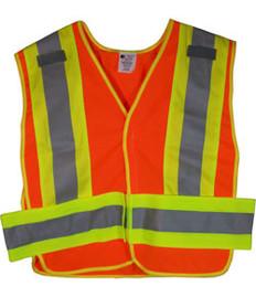 ANSI 207-2006 Public Service Safety Vests Orange with Lime/Silver Stripes 5 point Velcro® Tear-Away Size 3x-4x