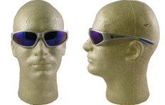 Smith & Wesson 38 Specials Safety Glasses with Silver Frame Blue Mirror Lens