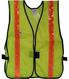 Safety Vests  PVC Coated Lime  (1.5 Inch Orange Stripes)