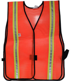 Safety Vests  PVC Coated  Orange (1.5 Inch Yellow/Silver Stripes)
