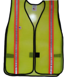 Safety Vests  PVC Coated Lime (1.5 Inch Orange/Silver Stripes)